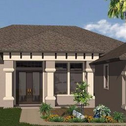 New home model. Tan with dark brown roof and brown doors.