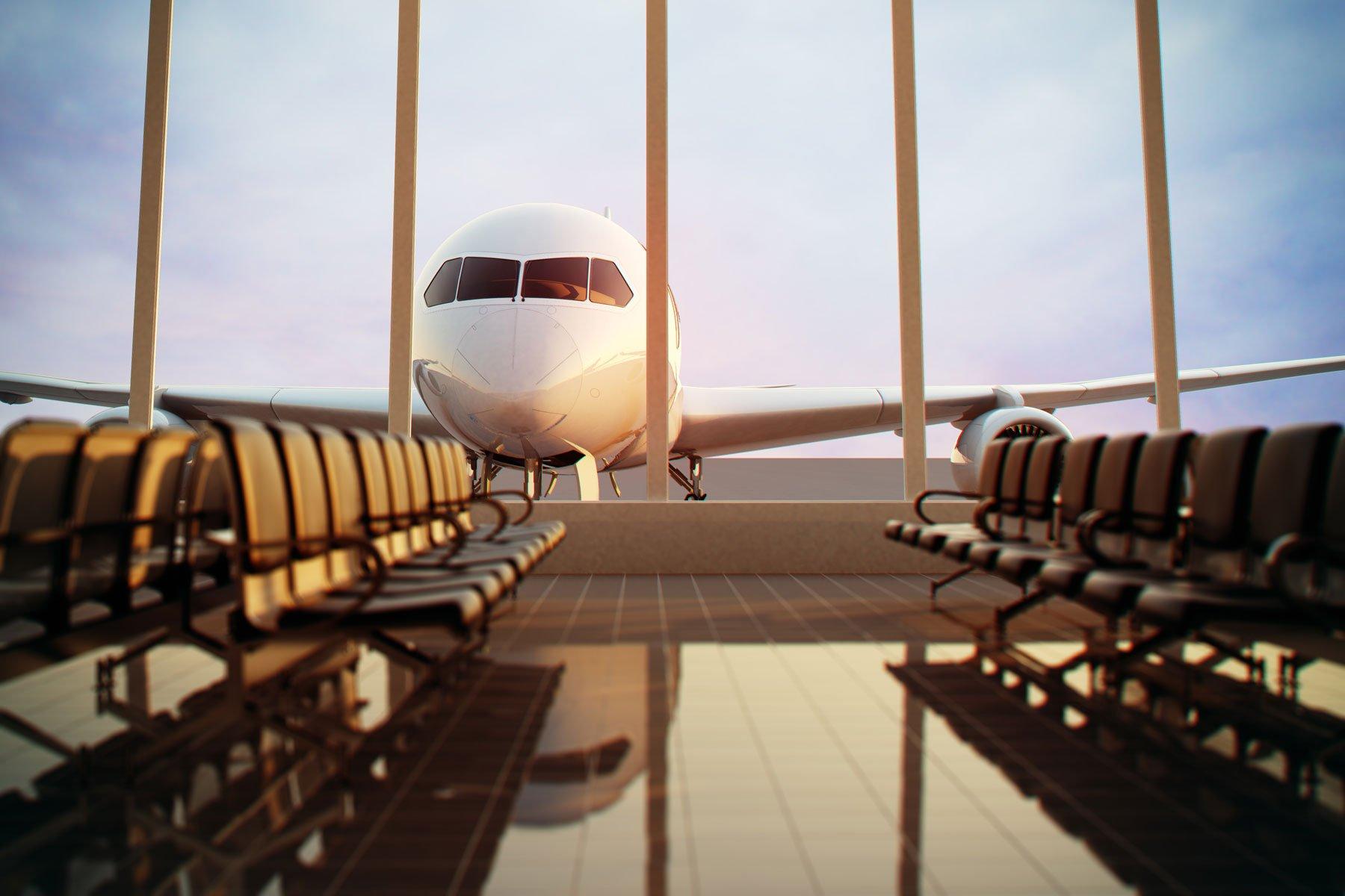 vetrata di un aeroporto con vista frontale di un aereo