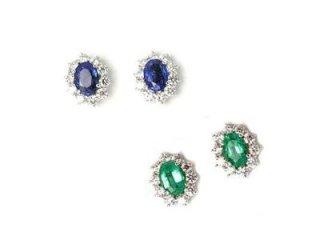 Orecchini con zaffiri e smeraldi con contorno di diamanti - Torino