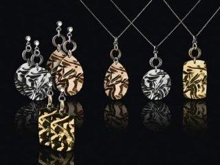 Girocollo e orecchini Fraboso in argento 925 dorato rosato e bianco - Torino