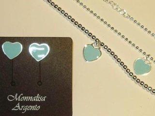 Orecchini,girocollo,bracciale Monnalisa in argento 925 e smalto azzurro - Torino