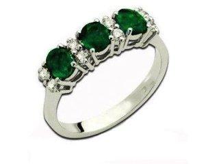 Anello trilogy con smeraldi e diamanti - Artigianato Valenza