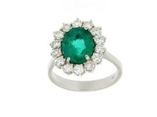 Contorno con splendido smeraldo colombiano e diamanti