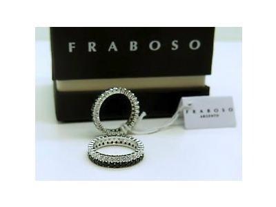 Anello Fraboso in argento 925 e zirconi neri e bianchi - Torino