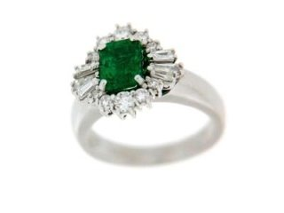Anello con smeraldi e diamanti taglio baguette e taglio brillante - Artigianato Valeza