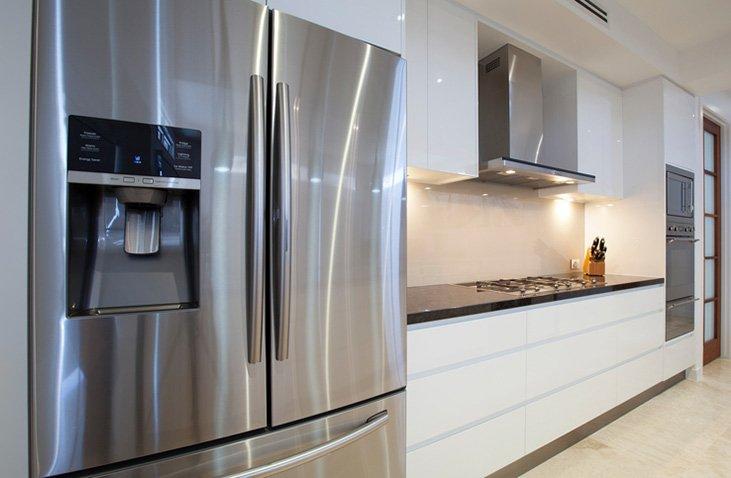 luxurious kitchen with nice fridge