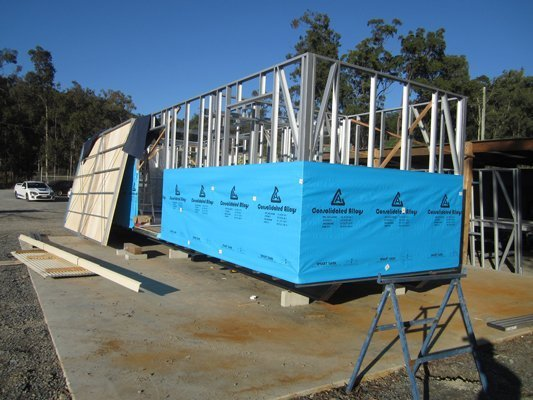 View of a Large Portable Building under construction