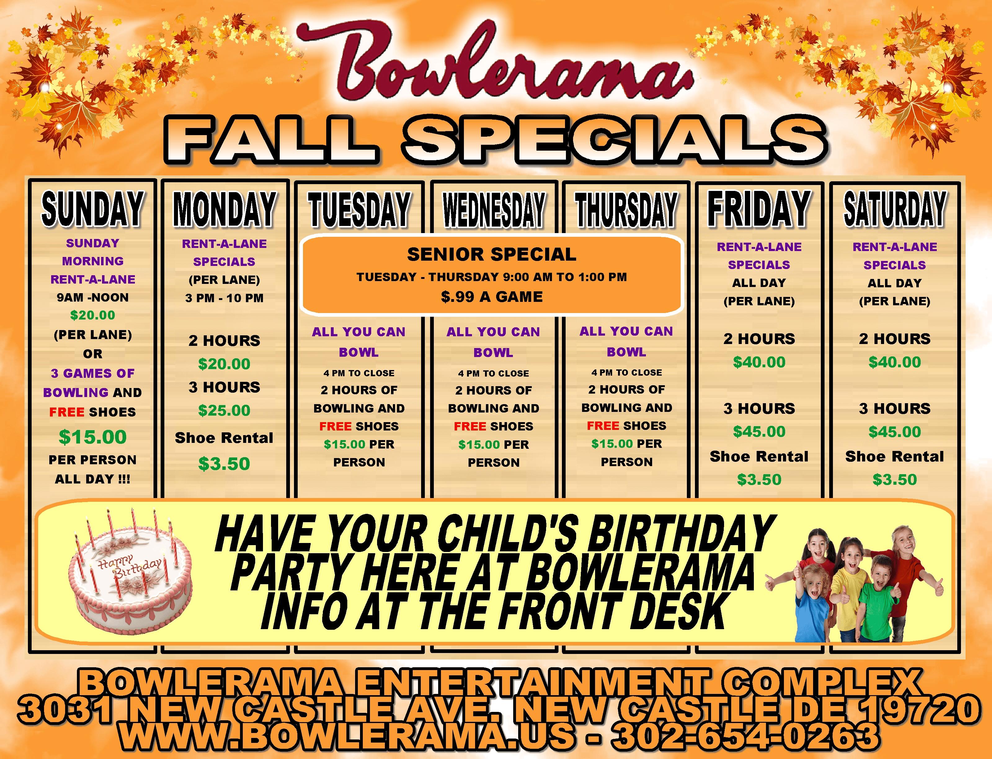 Bowlerama Delaware Specials