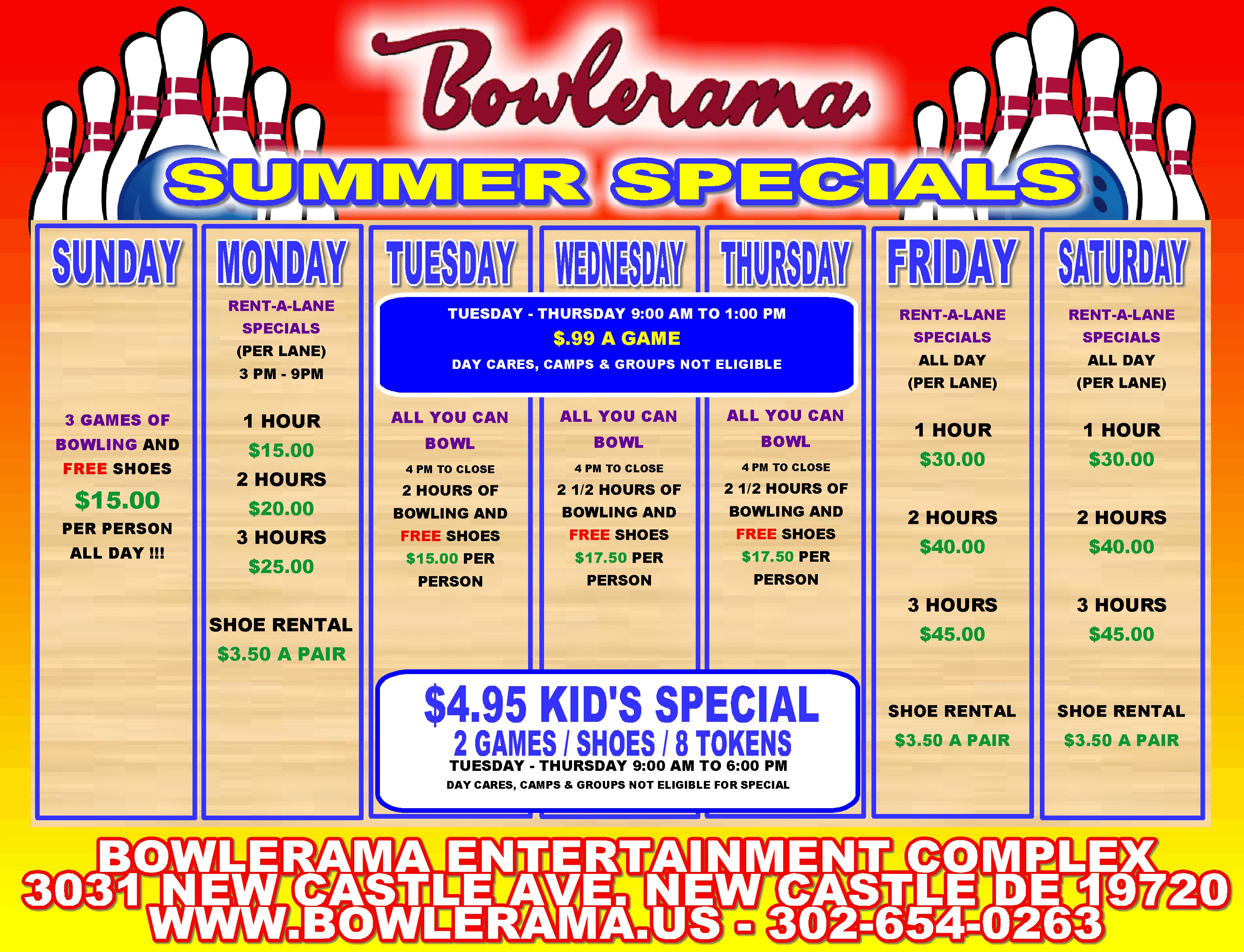 Bowlerama Delaware Winter Specials