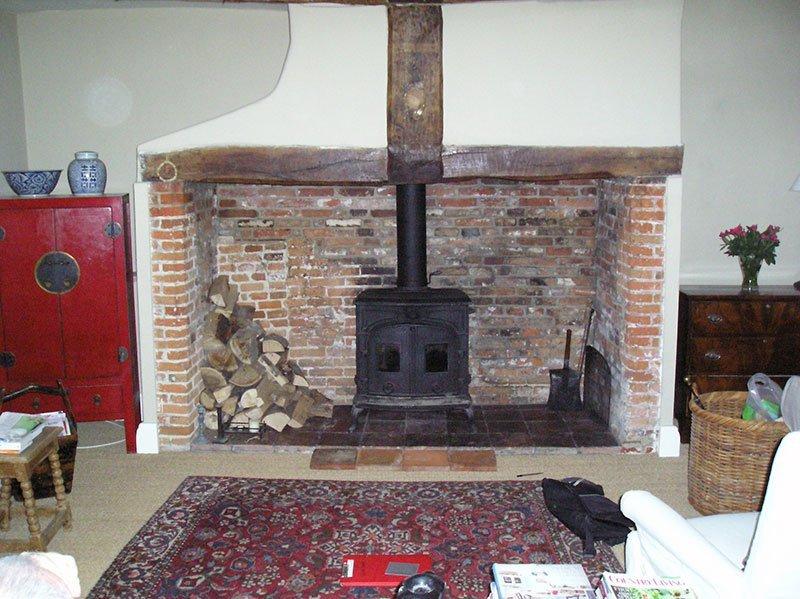woodburner being installed