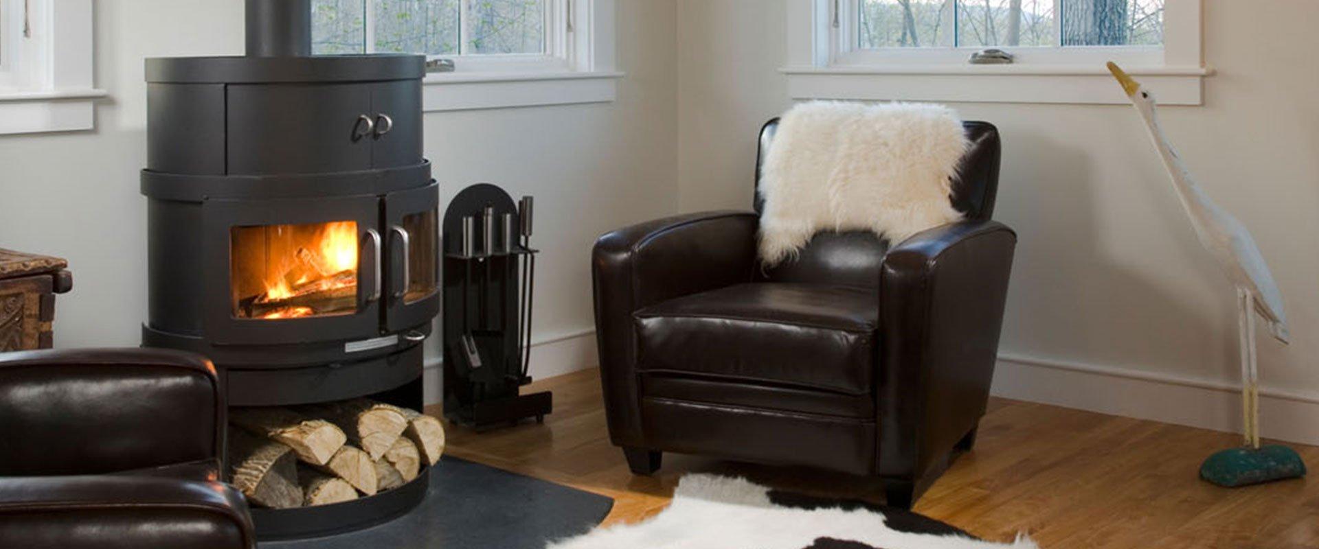 sofa next to woodburner