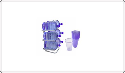 Bottle racks and plastic cups