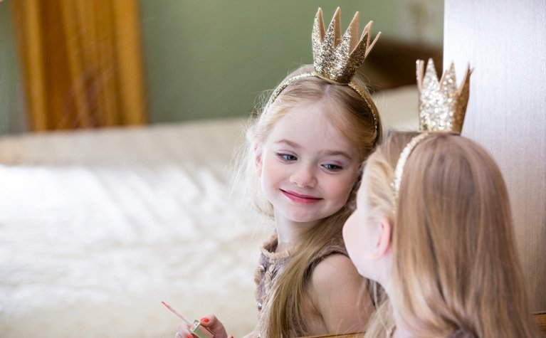 princess reflected in mirror