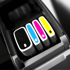 yellow, pink, blue and black cartridges