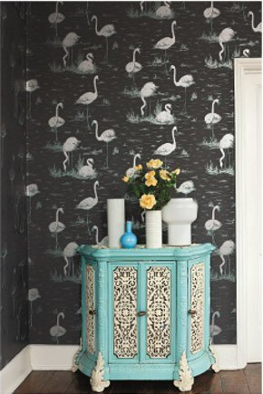 Wallpaper with flamingos