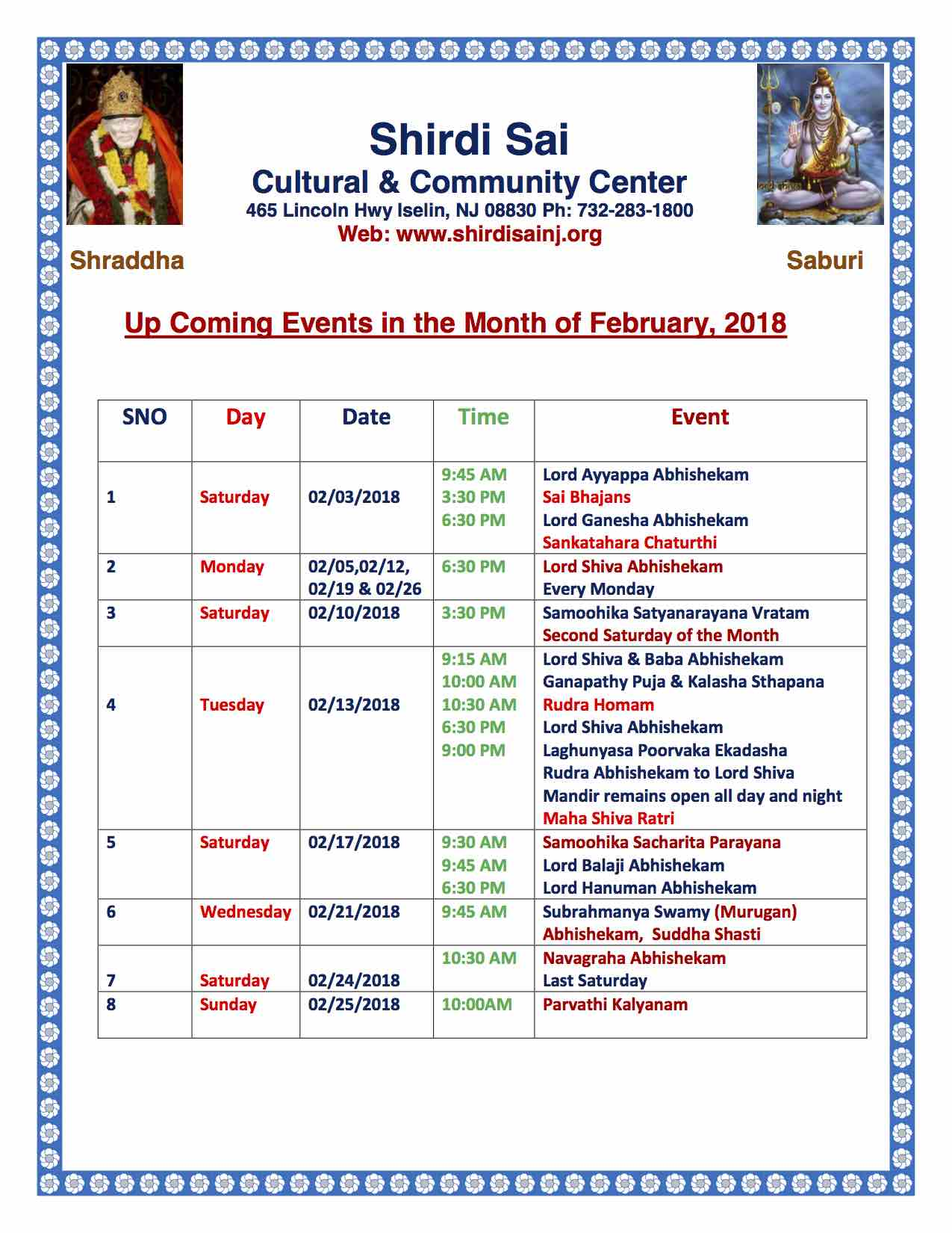 Feb 2018 Programs
