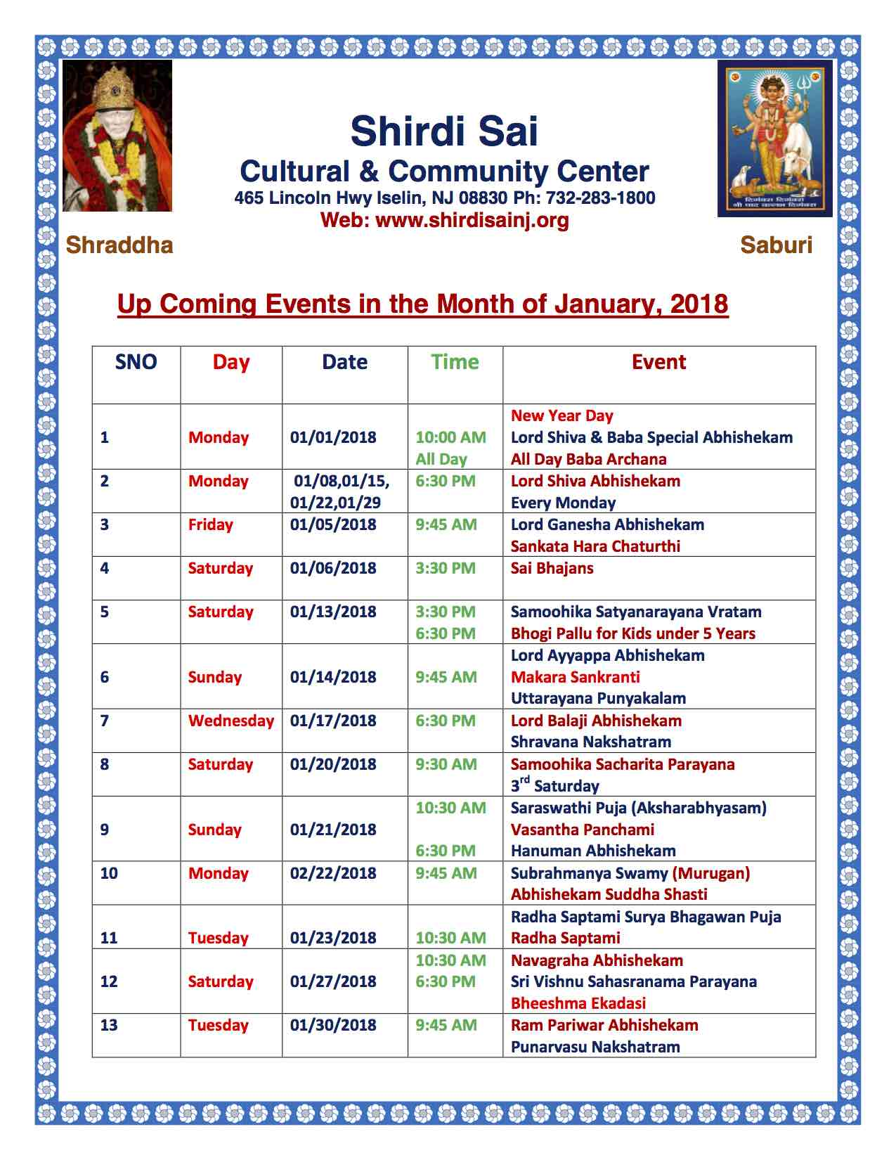 Jan 2018 Program