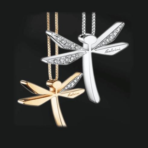 Ciondoli d'oro e argento a forma di libellula