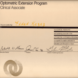 certificato optometric extension program