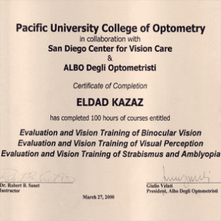 certificato pacific university college of optometry