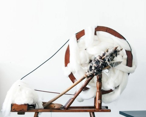 Traditional antique spinning wheel