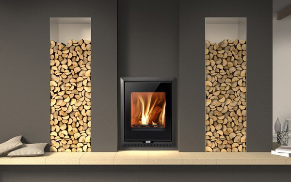 euro built in fireplace and chopped wood stacks
