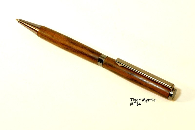 Slim ballpoint pen made from Myrtle Wood