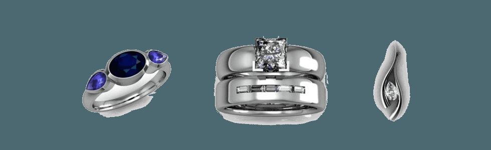 three pieces of jewellery
