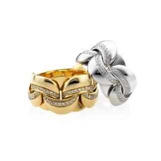 Infinity - Anello in oro bianco o giallo con diamanti