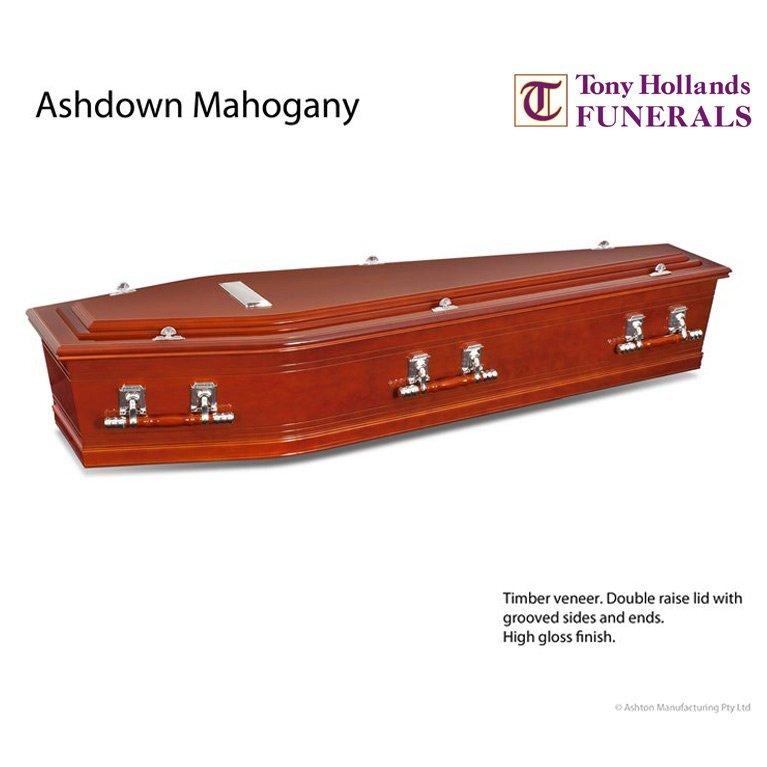 Image of a Ashdown Mahogany Coffin at Tony Hollands Funerals