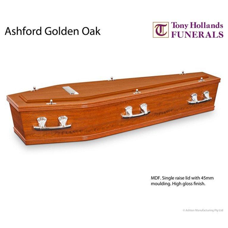 Image of a Ashford Golden Oak Coffin at Tony Hollands Funerals