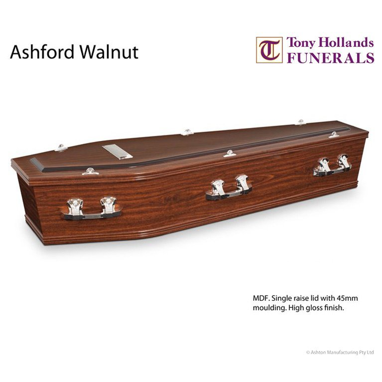 Image of a Ashford Walnut Coffin at Tony Hollands Funerals