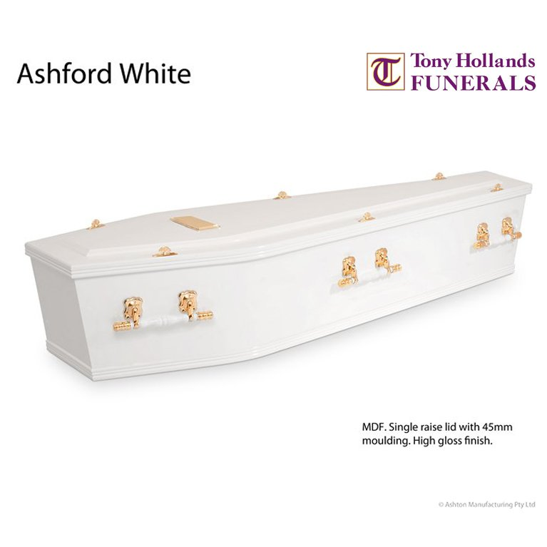 Image of a Ashford White Coffin at Tony Hollands Funerals