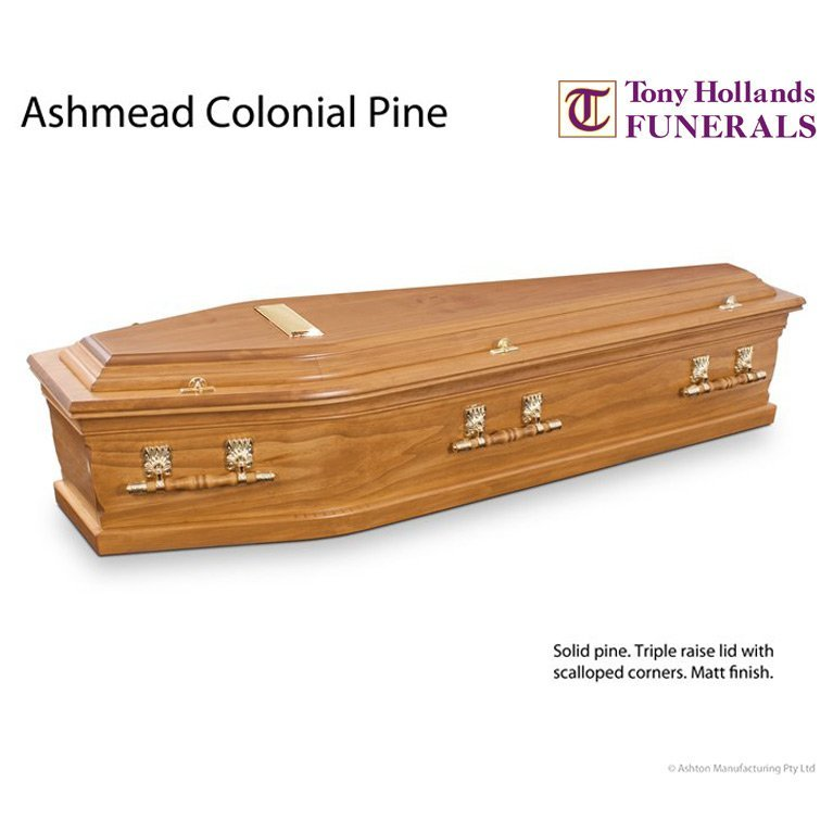 Image of a Ashmead Colonial Pine Coffin at Tony Hollands Funerals