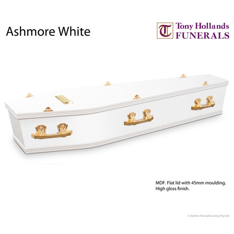 Image of a Ashmore White Coffin at Tony Hollands Funerals