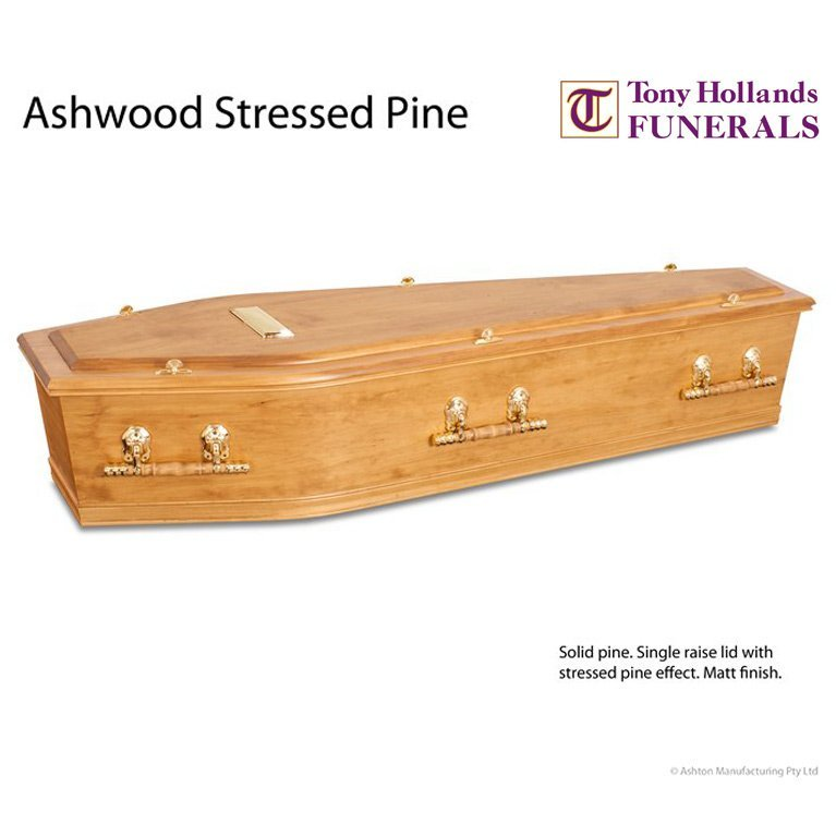 Image of a Ashwood Stresed Pine Coffin at Tony Hollands Funerals