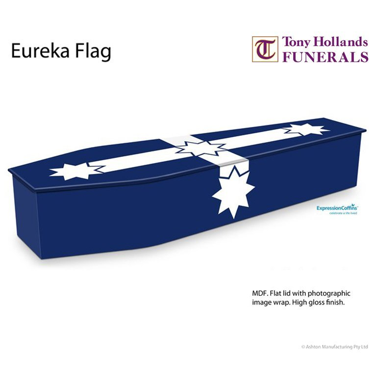Image of a Expressions Eureka Flag Coffin at Tony Hollands Funerals