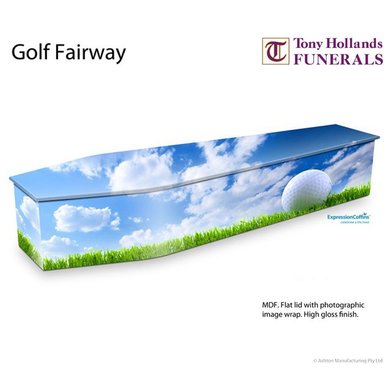 Image of a Expressions Golf Fairway Coffin at Tony Hollands Funerals