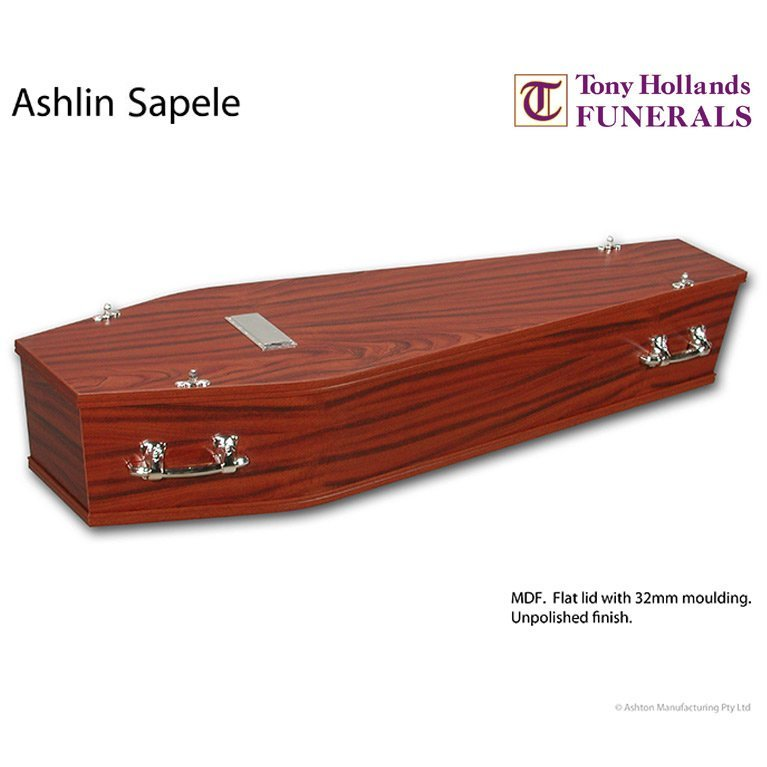 Image of a Ashlin Sapele Coffin at Tony Hollands Funerals