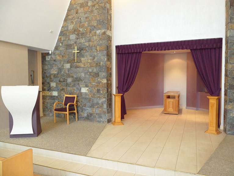 This is the coffin area and the podium in the Garden Chapel looking from the side