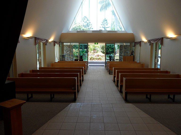 This is the Garden Chapel at Albany Creek Memorial Park looking out from the front