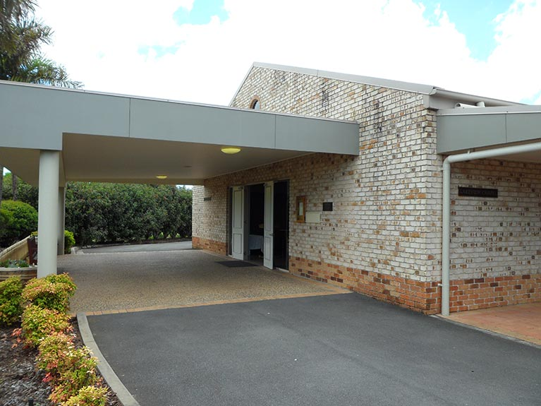 This is the entrance of the Lakeview Chapel at Albany Creek Memorial Park