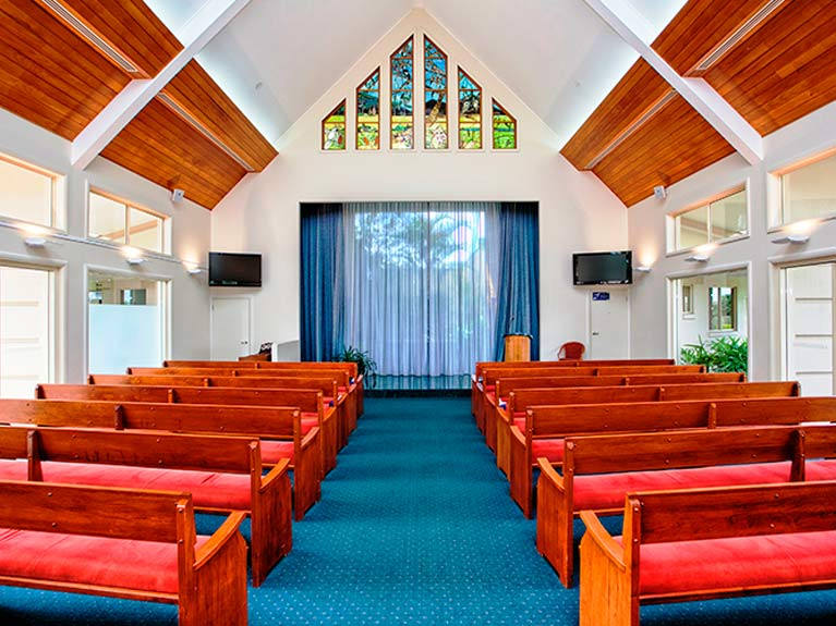 This is an image looking Inside the Centenary Memorial Gardens Federation Chapel