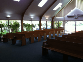 This is looking towards the seating and widow in the Great Southern Memorial Park Chapel from the front