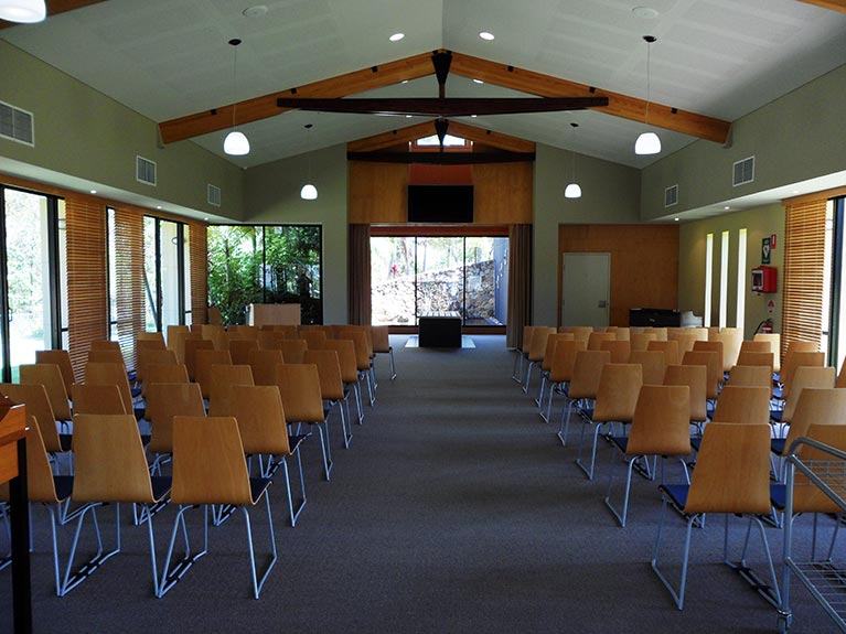 This is an image of the Hemmant Crematorium Chapel looking from the rear