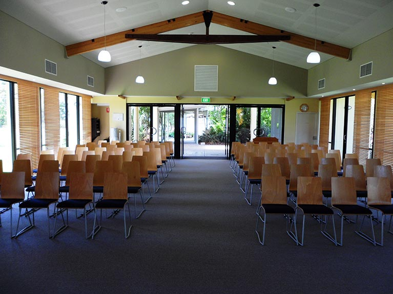 This is an image of the Hemmant Crematorium Chapel looking from the front towards the back