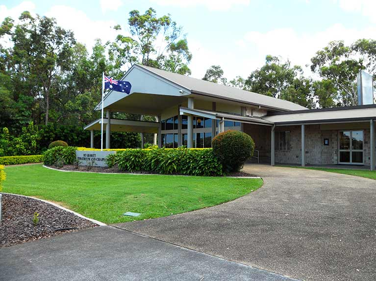 This is an image of the Mt Gravatt Crematorium Building showing chapel and office entrance