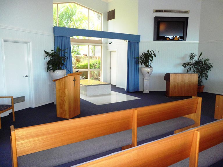 This is an image of the Mt Gravatt Crematorium Chapel looking from the left side
