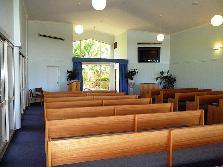 This is an image of the Mt Gravatt Crematorium Chapel looking from left side at the back