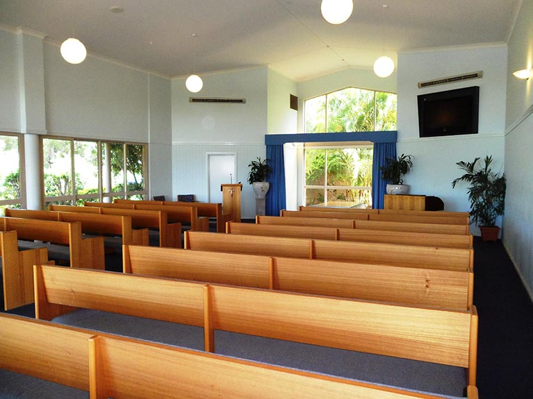 This is an image of the Mt Gravatt Crematorium Chapel looking from rght side at the back